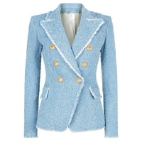 HIGH STREET New Fashion 2019 Designer Blazer Women's Double Breasted Lion Buttons Tassel Fringe Tweed Blazer Jacket