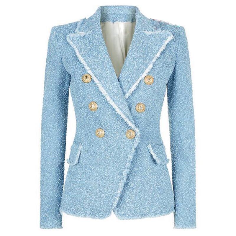 HIGH STREET New Fashion 2020 Designer Blazer Women's Double Breasted Lion Buttons Tassel Fringe Tweed Blazer Jacket