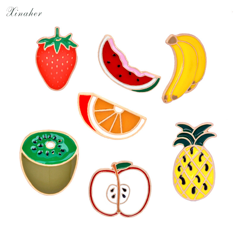 1pc Cartoon Fruit Watermelon Metal Badge Brooch Button Pins Denim Jacket Pin Jewelry Decoration Badge For Clothes Lapel Pins Apparel Sewing & Fabric Badges
