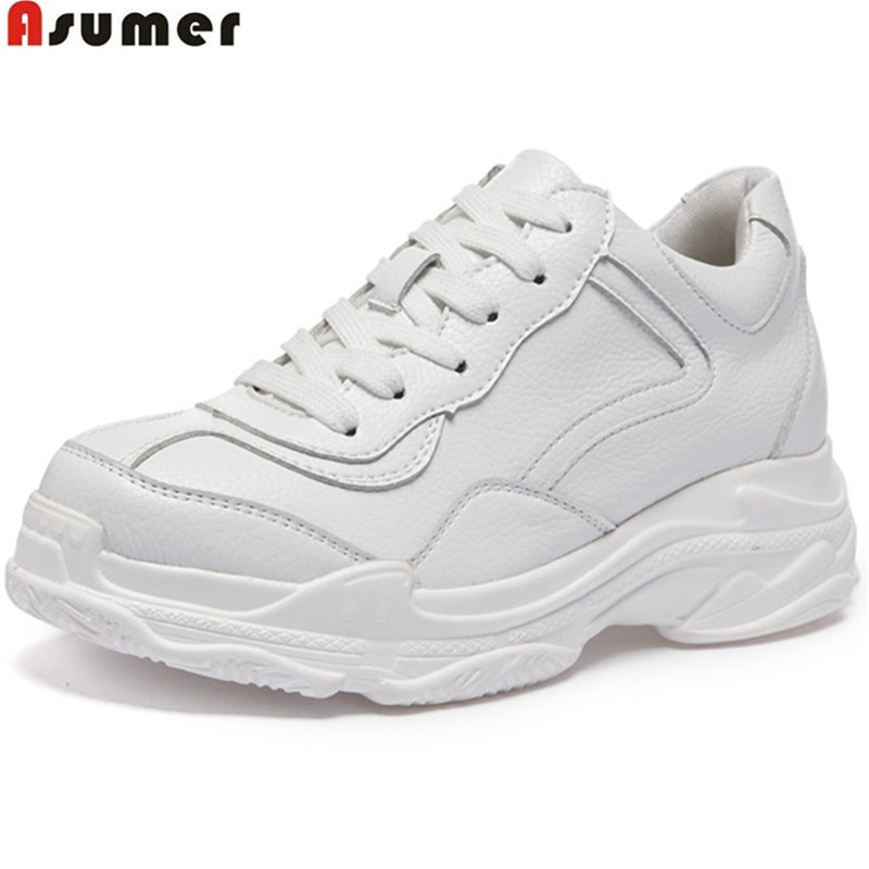 цена на Asumer white fashion Four seasons flat platform shoes round toe lace up casual sneakers shoes women genuine leather flats