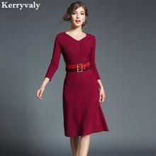 Весна v-образным вырезом с длинным рукавом женское платье Vestidos Mujer Invierno 2018 Kleider Damen черные офисные вязаное платье k5235