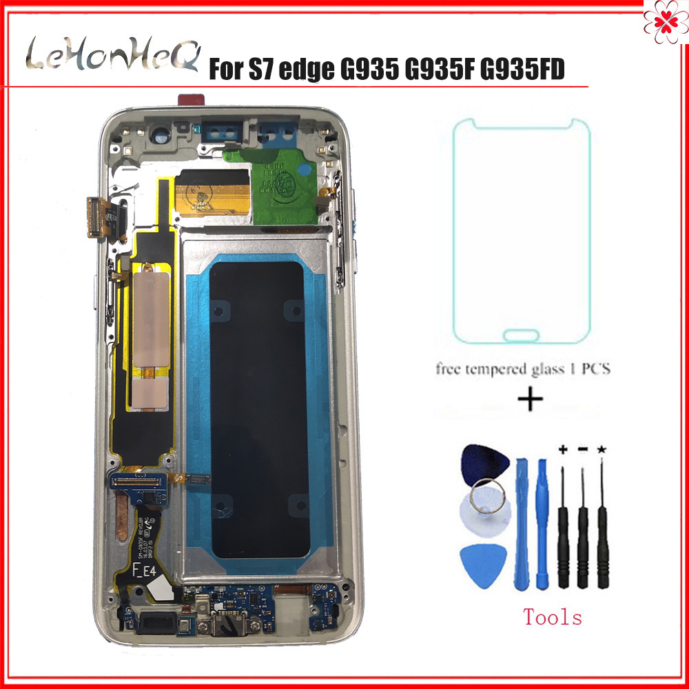 Super AMOLED For Samsung Galaxy LCD S7 edge G935 G935F Display Touch Screen Digitizer assembly LCD with frame For Samsung G9350(China)