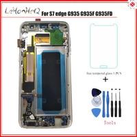 Супер AMOLED для samsung Galaxy lcd S7 edge G935 G935F дисплей с сенсорным экраном дигитайзер сборка lcd с рамкой для samsung G9350