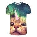 2017 новое прибытие Лучшие Моды майка для мужчин 3d Единорог Galaxy Cat Отпечатано футболка homme hot хип-хоп мма футболка homme camisetas