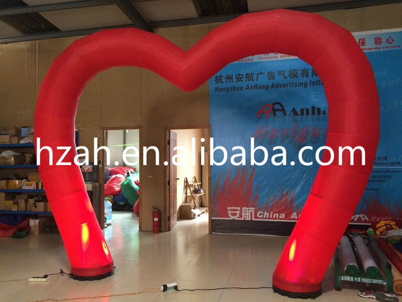 Wedding Decorative Inflatable Red Arch with LED Lights new design wedding inflatable flower arch with leaves