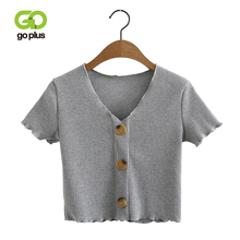 GOPLUS Sexy Buttons T Shirt Women Crop Top Ladies Summer Short Tee Shirt Striped V Neck Short Sleeve Crop Basic T-shirts C7577 недорого