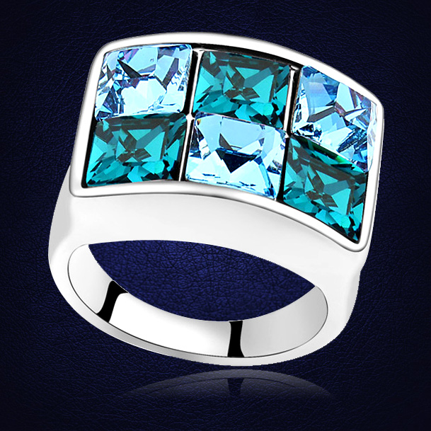 Hot New Design Square Multi-color Crystals From Swarovski Rings Fashion Noble White Gold Color Party jewelry For Women