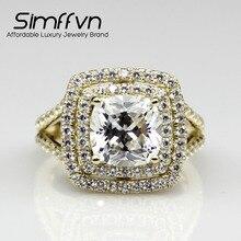SIMFFVN 3 КТ Двойной Подушка Cut Halo ASCD Имитация Алмазный 10 К Желтое Золото Обручальное Кольцо Обручальное Кольцо