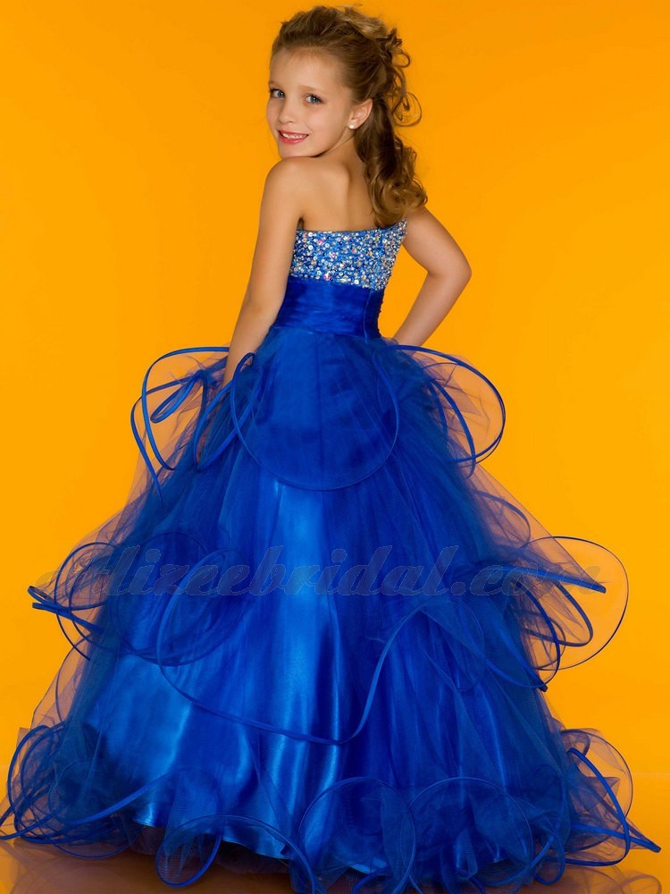 bfc1dc47f5e One Shoulder Floor Length Ball Gown Tulle Dark Rayal Blue Beads Flower Girl  Dresses Girls Pageant Dresses-in Flower Girl Dresses from Weddings   Events  on ...
