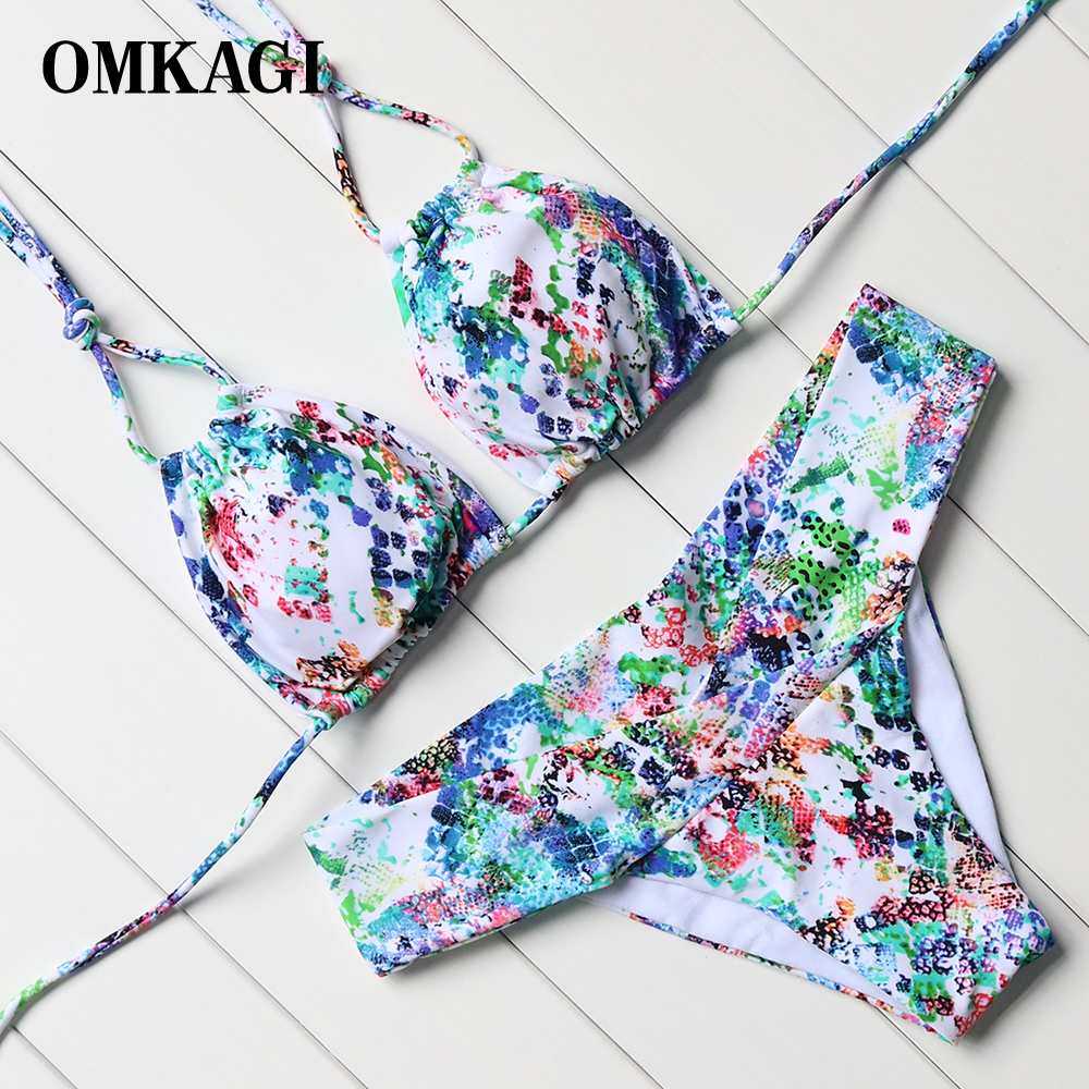 OMKAGI 2018 Sexy New Printed Bikini Swimwear Women Top Bandage Bikinis Set Swimsuits Beach Wear Low Waist Padded Bathing Suits high neck swimsuits bikini professional pool body suits vintage printed tankini for women zipper back swimsuits push up bikinis