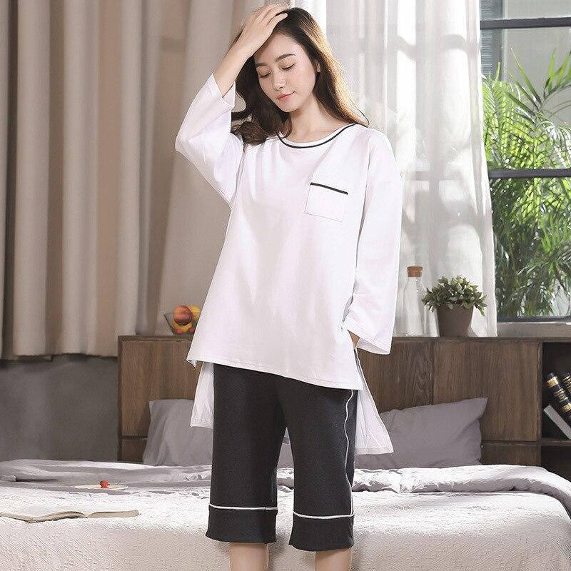 Autumn cotton ladies pajamas, minimalist home suite, fashion round neck, nine sleeves, cotton home wear