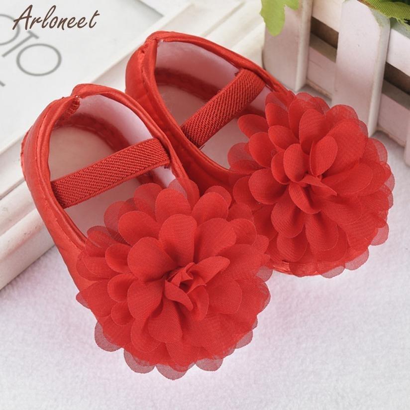 Shoes First-Walker Bebe Baby Chiffon Cute Solid Flower Dec15