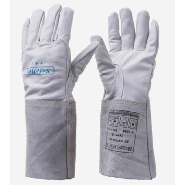 Novo 10-1005 proteção de soldagem mão luva de mangas compridas soldador TIG MIG soldagem soldagem luvas de trabalho do couro baixo China preços