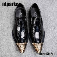 ntparker British Style mens shoes high Increased italian dress shoes patent genuine leather wedding dance shoes for men, EU38 46