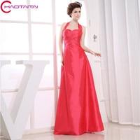 Hot Sale Promotion Halter Femininos Off The Shoulder Designer Bride Maid Party Long Taffeta Blush Bridesmaid Dress
