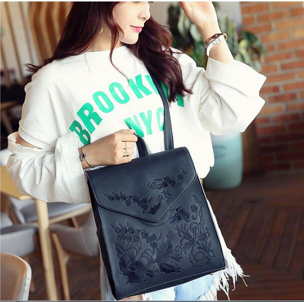 Women Backpack Vintage Flowers Shoulder Bags Flap Backpacks For Teenage Girls High Quality PU Leather Backpack Fashion Sac A Dos in School Bags from Luggage Bags