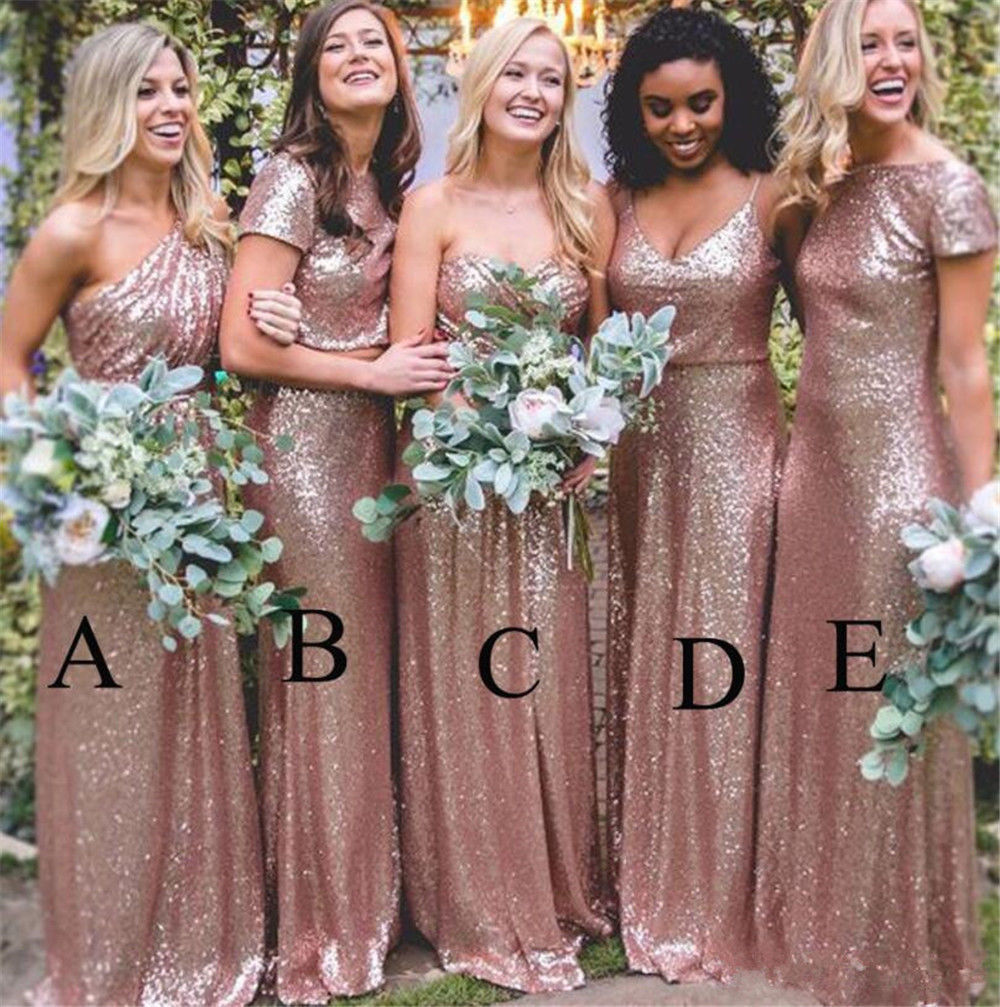 Sparkly Sequins Formal Bridesmaid Dress Rose Gold Prom Party Ballgown