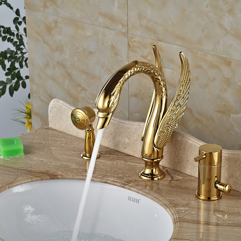 Luxury Brass Golen Bathtub Sink Faucet Deck Mount Swan Tub Mixer Taps One Handle 3 hole