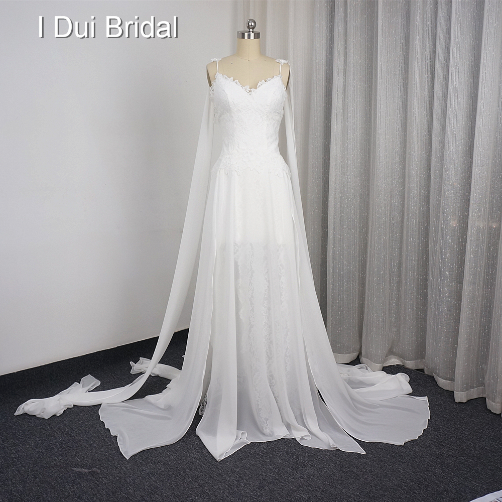 Beach Wedding Dresses A line Lace Chiffon Backless Short Front Long Back Sexy Bridal Gown Factory Custom Make