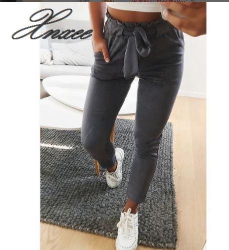 Лучший!  Новый 2019 Мода весна Vintage серые повседневные брюки женские брюки брюки женские уличная одежда  Лучший!