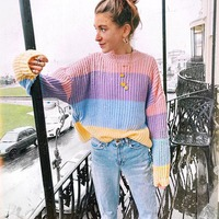 Women Rainbow Striped Pullover Sweaters 2018 New Winter And Autumn Fashion Colorful Oversized Loose Knit Jumpers