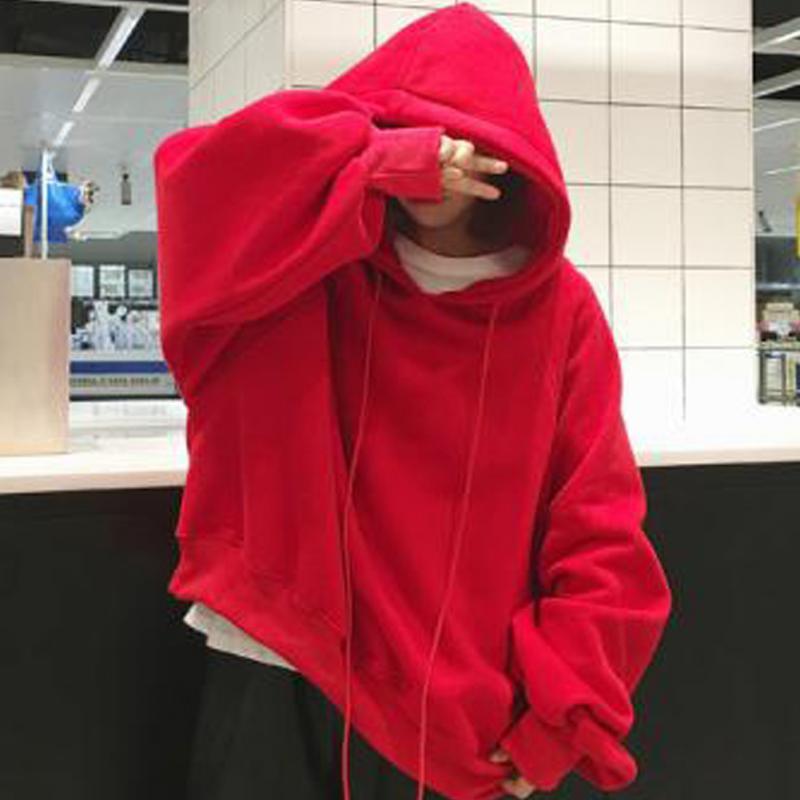 Autumn Winter Fleece Harajuku Print Pullover Thick Loose Women Hoodies Sweatshirts Female Casual Coat Large Size XXXL