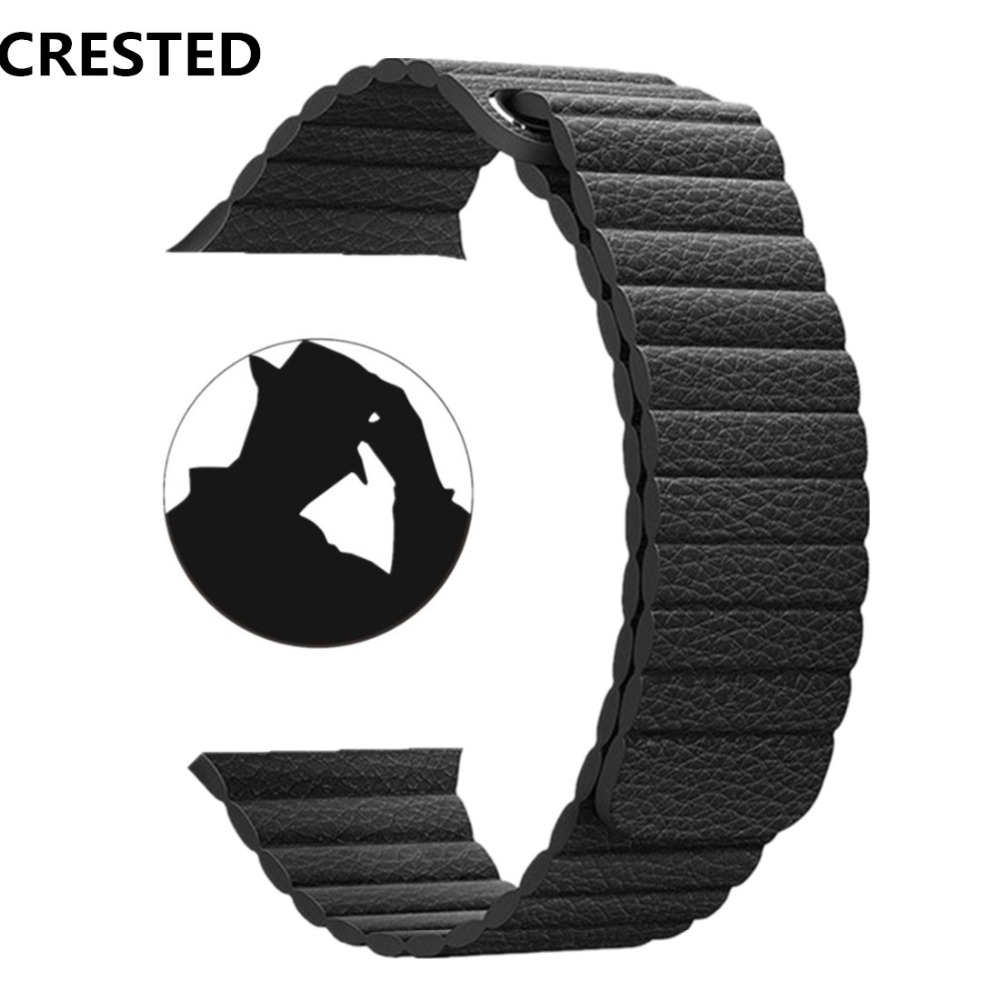 CRESTED Leather Loop For Apple Watch band strap 38mm/42mm iwatch series 3 2 1 wrist bracelet Magnetic Closure watchband belt crested crazy horse strap for apple watch band 42mm 38mm iwatch series 3 2 1 leather straps wrist bands watchband bracelet belt