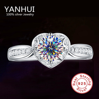 90% OFF!!! Fine Jewelry Real Solid 925 Sterling Silver Rings Romantic Heart Shape Inlay 1CT CZ Diamant Wedding Rings For Women