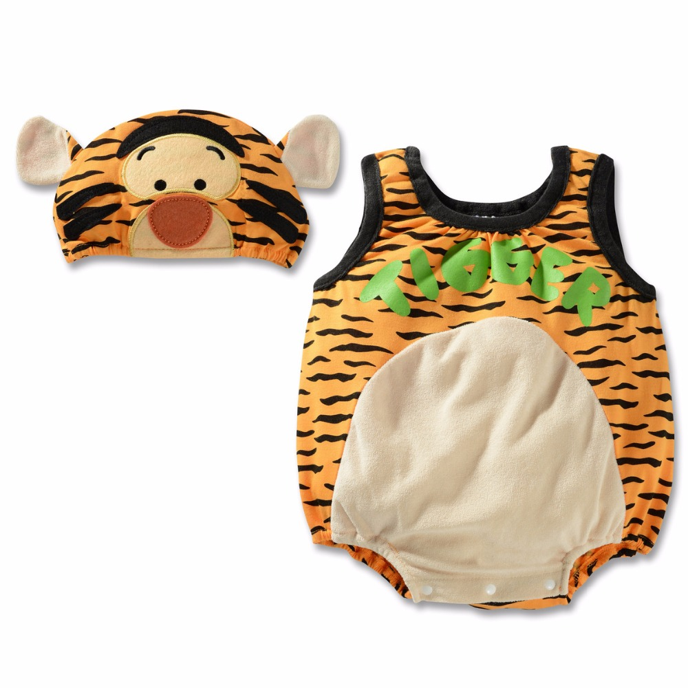 Baby Sets Clothes Newborn Kids Summer Rompers Lovely Cartoon Tiger Character Jumpsuits + Hat Hero Spiderman Climb Clothes