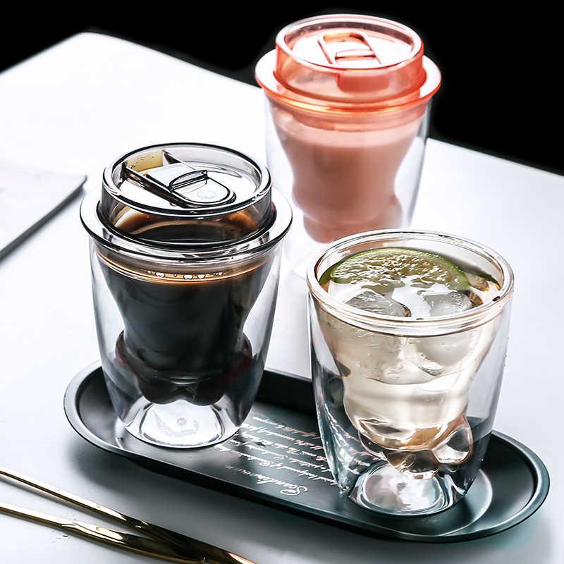 CAT Claw ถ้วยพร้อมฝาปิดถ้วยกาแฟคู่ฉนวนสุทธิสีแดงถ้วยน้ำ INS แบบพกพาแนวโน้มเครื่องใช้ในครัวเรือนถ้วยอาหารเช้าถ้วยขวด