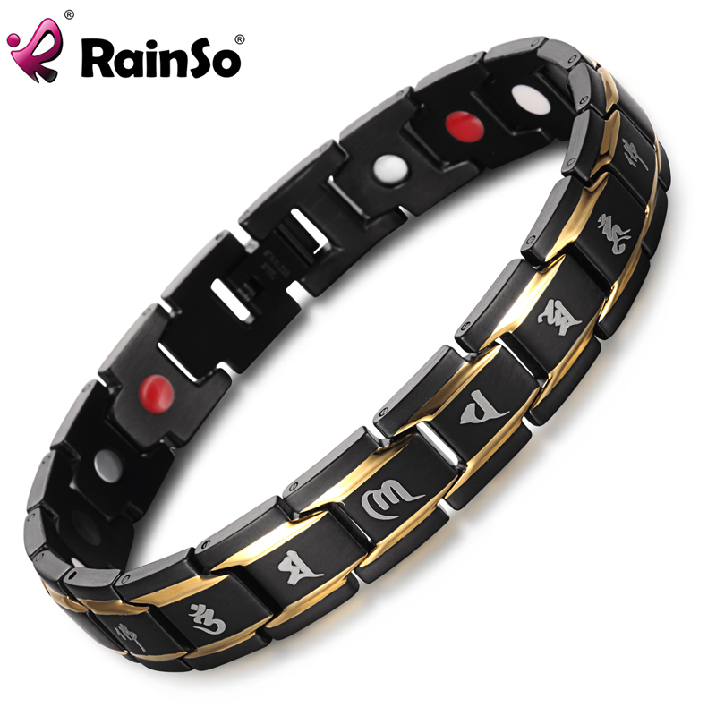 2019 Healing Magnetic Men Bracelets 316L Stainless Steel Health Care Elements FIR Black Gold Buddhism Rune Letter ձեռնաշղթա