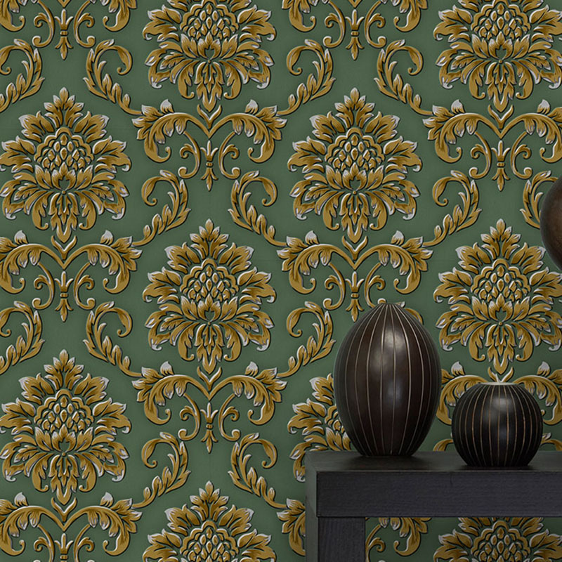 European Style 3D Damascus Luxury Wallpaper PVC Waterproof Living Room Sofa Bedroom TV Background Wall Paper Roll Home Decor 3 D european style pvc waterproof wallpaper living room bedroom background flower wall paper roll blue coffee