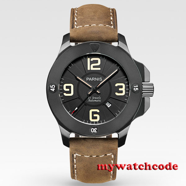 Parnis black dial PVD Sapphire Glass 21 jewels miyato Automatic mens Watch 570 цена и фото