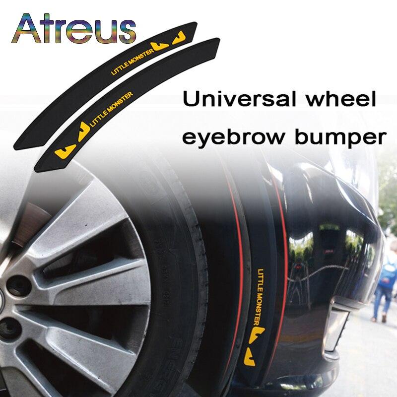 Atreus 2pcs Car Wheel Eyebrow Anti-collision Strip Decoration for Abarth Fiat 500 BMW E60 E36 Mercedes Benz W204 Volvo XC90 V70 abarth фиат ритмо запчасть