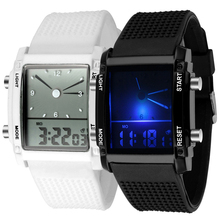цена на Men Square Dial Dual Time Day Display Alarm Colorful LED Sports Clock Electronic Wrist Watch New