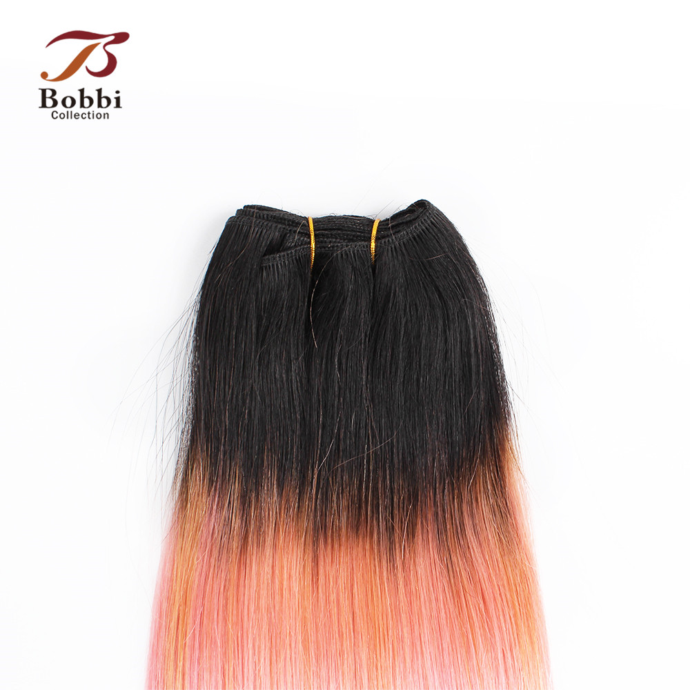Bobbi Collection 1 Bundle T 1B Pink Rose Golden Straigth Remy Human Hair Extension Ombre Peruvian Hair Weave Bundles 10-18 inch