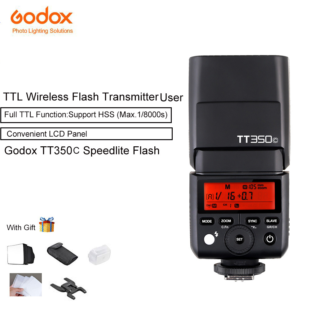 Godox TT350C Mini TTL 2.4G Wireless X System Speedlite Flash GN36 HSS 1/8000s Built-in 5D Mark III Digital for Canon EOS godox mini tt350c ttl hss max 1 8000s 2 4g wireless x system flash for canon eos 1300d 800d 760d 750d 80d 77d 7d 6d 5d mark iii
