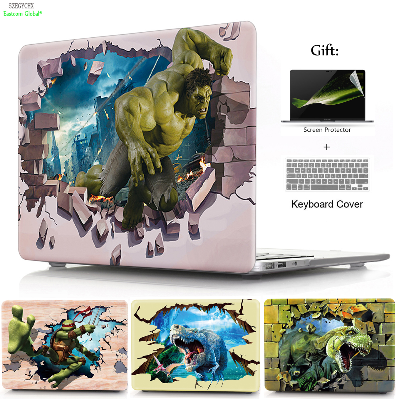 SZEGYCHX 3D Dinosaur Elephant Colorful Painting Hard Case Shell For Macbook Air Pro Retina 11 12 13 15 13.3 inch with Touch Bar