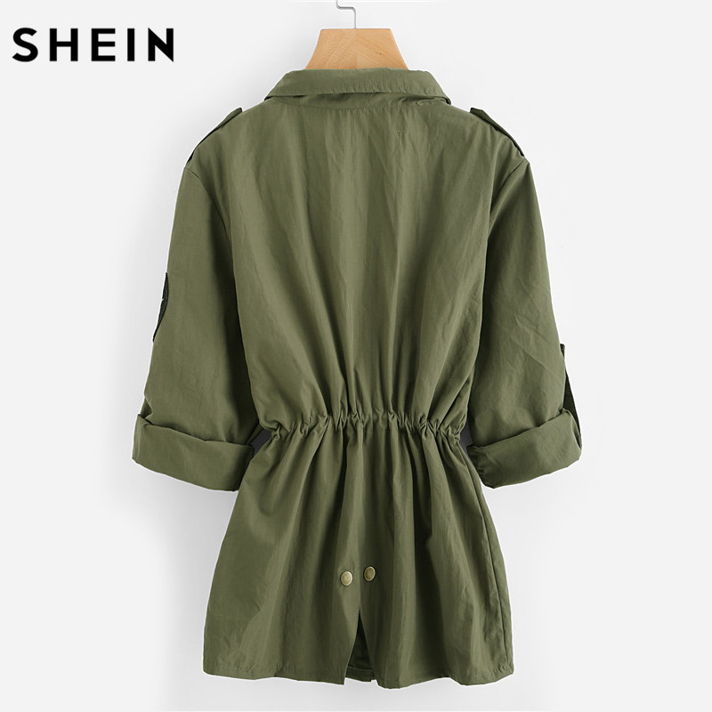SHEIN Drawstring Waist Patch Sleeve Utility Jacket Green Single Breasted Autumn 2017 Women's Jackets and Coats 1