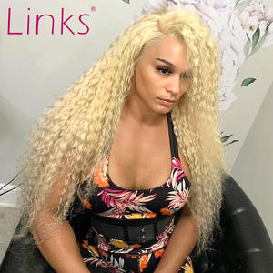 Links Wig Human-Hair Hair-613 Honey Blonde Curly Lace-Front Deep-Wave Pre-Plucked 613-Color