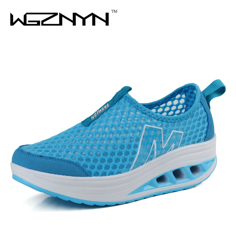 2017 New Wedge Casual Shoes Woman Height Increasing Slimming Swing Shoes Summer Breathable Air Mesh Platform Shoes new mesh air women flats summer casual shoes height increasing comfort shoes woman platform ladies shoes
