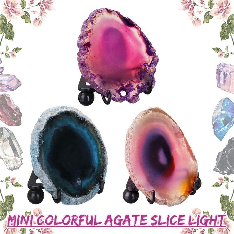 AnpassungsfäHig Natürliche Poliert Achat Dünne Scheibe Led Mineral Rock Nacht Lampe Mit Usb-schnittstelle Und Eisen Stehen