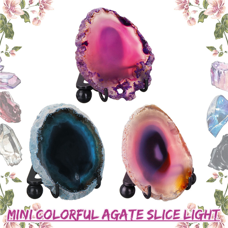 New LED Night Lights Rock Lamp Natural Polished Agate Thin Slice LED Mineral Rock Night Lamp With USB Interface And Iron Stand