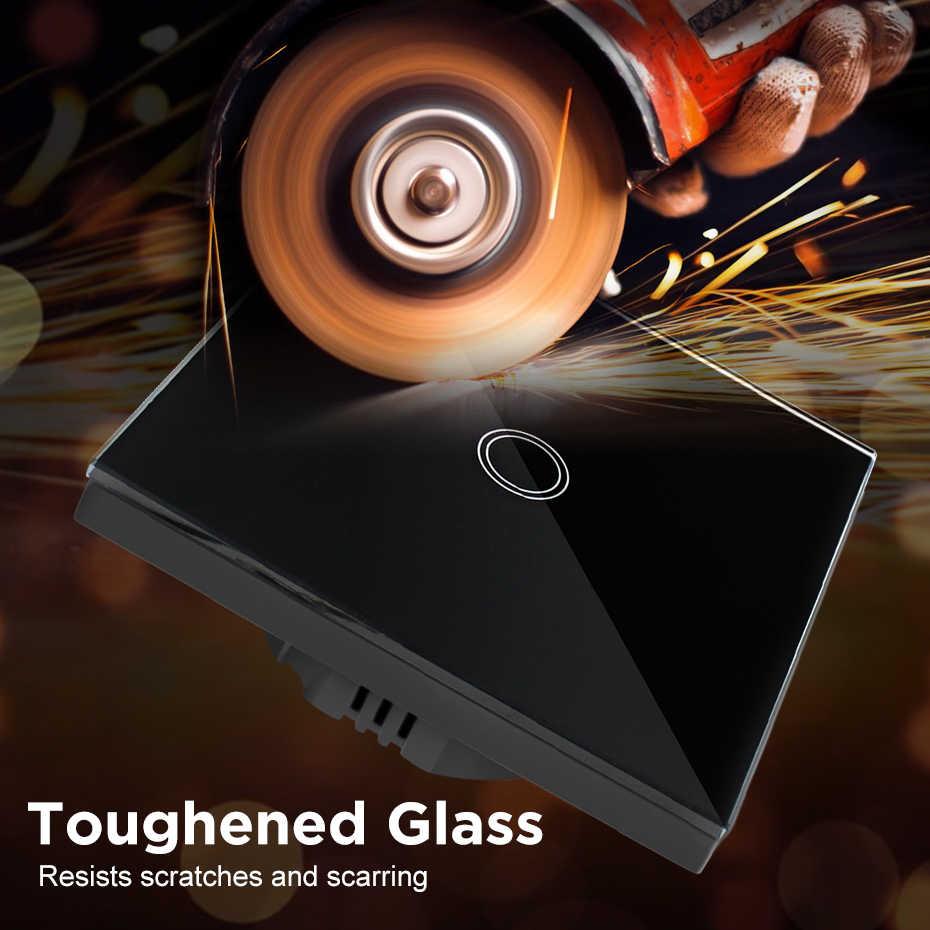 Interruptor táctil inteligente para el hogar 1/2/3 Gang Blanco/oro/Negro UE/Reino Unido pared estándar panel de vidrio templado Ultra claro con Interruptor táctil AC170-250V