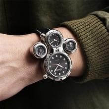 Oulm yeni benzersiz tasarım iki zaman dilimi erkek izle dekoratif pusula erkek spor saatler Casual kuvars erkek kol saati