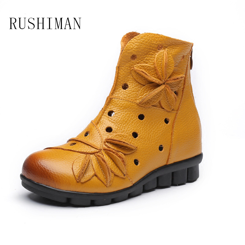 RUSHIMAN Handmade Female Sandals National Wind Leather Short Boots Flat Bottom Hollow Boots Comfortable Soft Bottom Hole Shoes