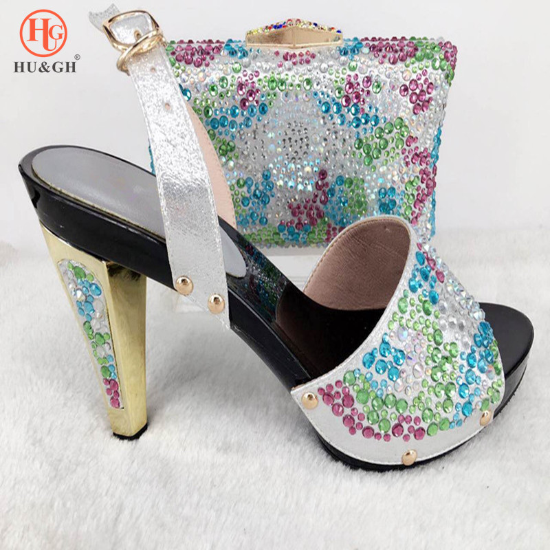 New Silver Italian Ladies Shoes and Bags To Match Set Wedding Shoe and Bag Sets Italian Nigerian Women Shoes and Bag set African shoe and bag to match italian african wedding shoe and bag sets women shoe and bag to match for parties doershow bch1 16