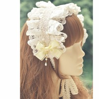 Princess sweet lolita Hairbands Classic lace bow tie hair band daily or gorgeous double type kc bonnet accessories MHTSP032