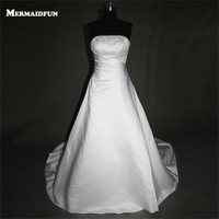 2017 A Line Strapless Beaded Satin Lace-up Back Long Wedding Dresses Custom Made Bridal Gown