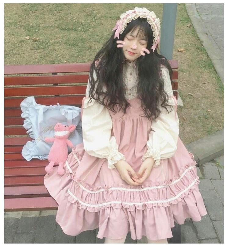 Women Japan Lolita Princess Ruffle Dress Cosplay Costume Bubble Skirt Dresses